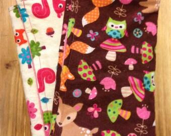 Set of 2 Woodland Creature Burp Cloths