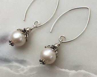 Drop Freshwater Pearl Earrings with Bali Sterling Silver Bead Caps