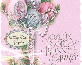 Pink French Christmas ornaments Large digital Printable ECS buy 3 get one free Joyeux Noel