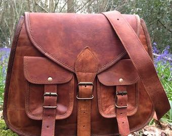 Hand Made Large Leather Handbag Satchel Tan Portfolio Messenger Real Leather Saddle Bag Tablet / Ipad