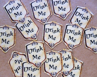 28 Mini labels 'Drink Me' stickers for little bottles Alice crafts, paper crafts, fairy dust, favours, scrapbooking, parchmant effect