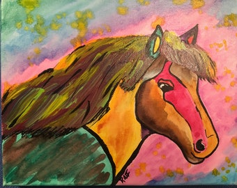 "Colorful Horse painting 8""x10"""