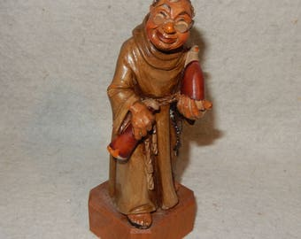 Vintage ANRI Carved Wood MONK w/WINE Bottles Toriart Italy Carving Figurine  Free Shipping!