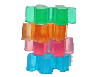 Puzzle savons - aigre gommeux bonbons parfum - couleur - 4 Pack - savon à la glycérine nouveauté amusant pour les enfants - sensibilisation à l'autisme - Party Favors - en boîte