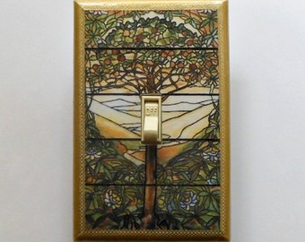 Stained glass Switchplates & Rockers w/ MATCHING SCREWS- Tiffany window stained glass decoration Tree of life decor stained glass window art