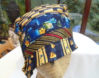 Multi coloured cloche hat