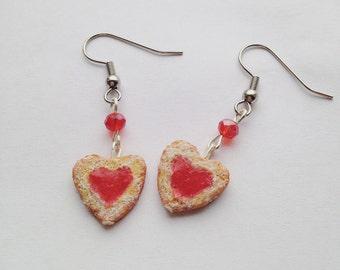 Heart Shaped Linzer Cookie Earrings