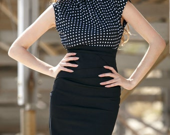 Office dress Polka dot dress Combined dress Jersey dress Business woman dress Spring dress Black dress