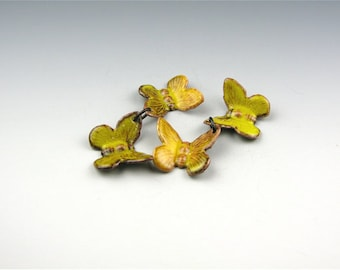 Enameled Butterflies / Yellow Enamel  / Made to order
