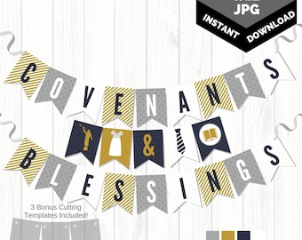 NEW 2018 Temple & Priesthood Preparation Banner | Navy, Gray, Gold | Angel Moroni Pennant Banner | INSTANT Download Banner 4x6 and 5x7 JPG