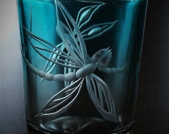 Candle votive, Dragonfly  Candle Votive, Tea light Decorative Candle Votive,  Glass  Candle votive, Blue Glass Candle Votive,