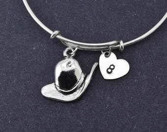 Hat Bangle, Sterling Silver Bangle, Hat Bracelet, Bridesmaid Gift, Personalized Bracelet, Charm Bangle, Initial Bracelet, Monogram