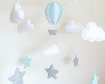 Clouds, Stars, Hot Air Balloon Musical Cot Mobile, Baby Mobile, Cloud Nursery Mobile, Star Nursery, Nursery Decor, Baby Mobile, Cloud Mobile