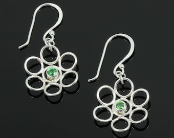 Handmade Sterling Silver Jump Ring Flower Earrings with Cubic Zirconia