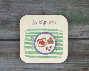 """Pictogramme """"Je déjeune"""", en bois - Routine quotidienne - 3 à 5 ans"""