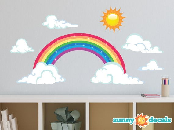 Rainbow Fabric Wall Decal Sparkling Rainbow Wall Decor With