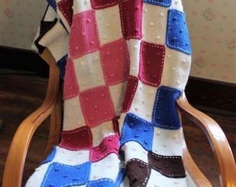 Vintage Knitted Patchwork Lap Blanket, Afghan, Throw, 40 X 56