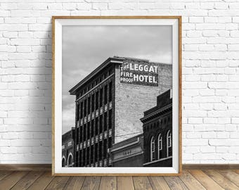 "black and white photography, large art, printable art, instant download printable art, digital download, industrial art -""Fire Proof Hotel"""