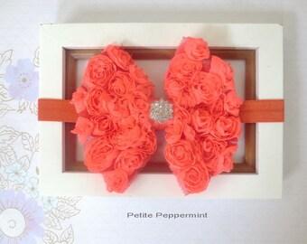 Orange baby headband, baby head band bow, girl headband, toddler headband, infant headband, newborn headband, orange baby girl hair bow
