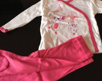 set pajama 2pieces (with foot) 6months summer girl NEW