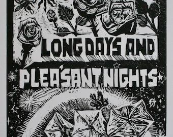 Long Days Pleasant Nights Gunslinger Pollinators Hello Goodbye Signage Woodcut Print
