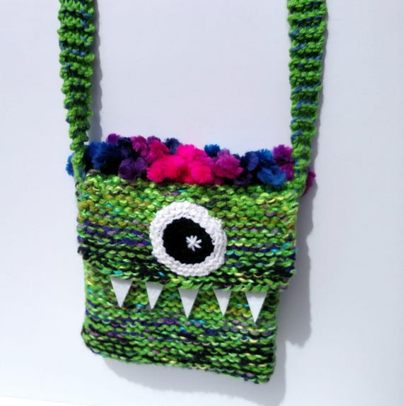 Silly Cyclops Hand Knit Bag - Green and Pink