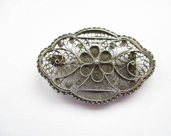 Antique, Late Victorian, Sterling Silver Filligree Brooch, Silver Filligree Pin, Telkari, Silver Wire Work, circa 1910