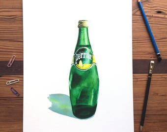 Perrier in Green Glass - 11x14 Seltzer Watercolor Print - Affordable Kitchen Statement Art Food Lemon Sparkling Water Can  Still Life