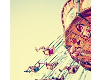 carnival photography / swing, ride, amusement park, fun, summer, whimsical, vibrant, sunlight / joy ride / 8x10 fine art photo