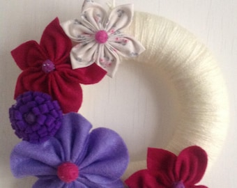 Handsewn felt flower garland wreath
