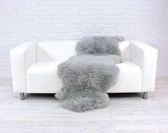 Giant genuine British DOUBLE sheepskin rug dyed silver grey 180cm x 70cm D22