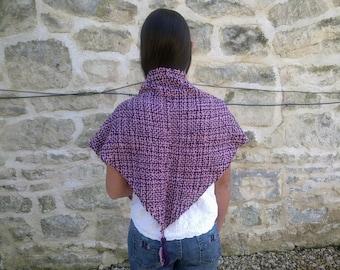 Pink and purple merino shawl with tassles