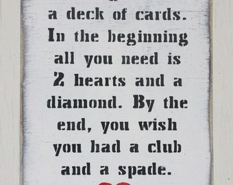 Marriage Is Like A Deck Of Cards Sign Wedding Gifts Anniversary Valentines Gift Mr and Mrs Love Sign 40th Wedding Wooden Signs Husband Gift