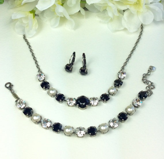 Swarovski Crystal Necklace - 12MM Jet, Clear Crystal, Creamy White Pearls - Designer Inspired - Classic Black & White Wedding- FREE SHIPPING