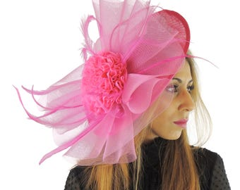 Fuchsia Pink Magdalena  Fascinator Hat for Weddings, Races, and Special Events With Headband