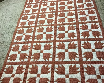 Quilt Orange and White Pattern Vintage Hand Stitched