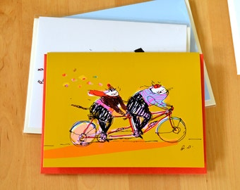Cat Bike Card - Tandem Cats - Fall - Cat Cycling Card - Love Card - Bike Lover