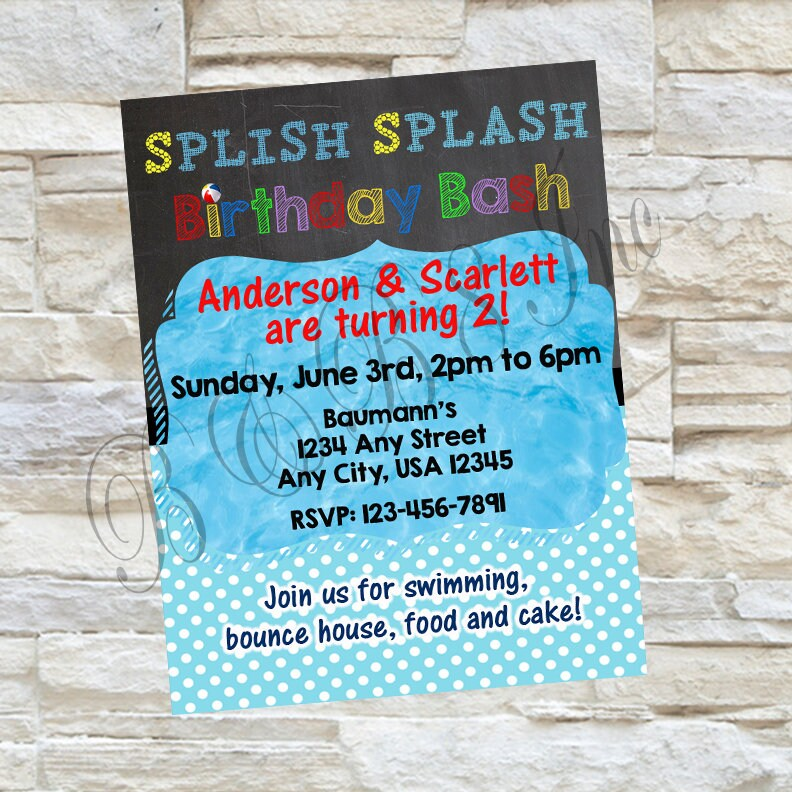 Splish Splash Birthday Invitation, Splish Splash Invitation, Splash ...