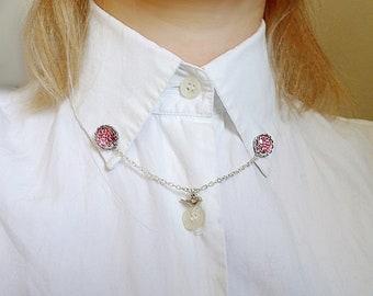 Collar pin - birds, silver, collar chain, collar pin with chain, collar clips, collar pins, collar brooch, collar pin chain, collar chains
