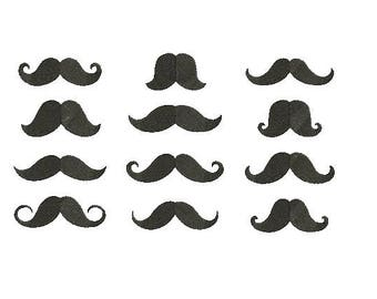 Mustache EMBROIDERY Set Fill Design Machine Hipster Embroidery Instant Download EN1036_F1_12