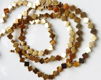 6mm Gold plated hematite   clover Bead,Quatrefoil hematite beads