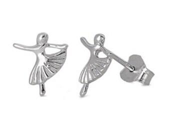 Sterling Silver Ballet Dance Stud Earrings, Ballerina Earrings, Ballet Earrings, Recital Gifts, Gift For Dancer
