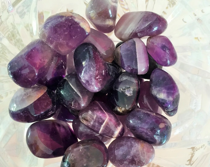 Amethyst Crystal Tumbled Stones / Healing Crystals infused w/ Reiki