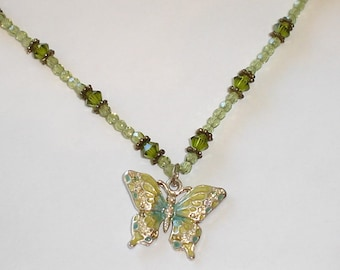 Butterfly Necklace, Sage, Peridot, Green, Crystals, Small Size, Child