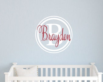Monogram Wall Decal-  Name Wall Decal - Boy Nursery Decal - Girl Name Decal - Neutral Nursery Decor