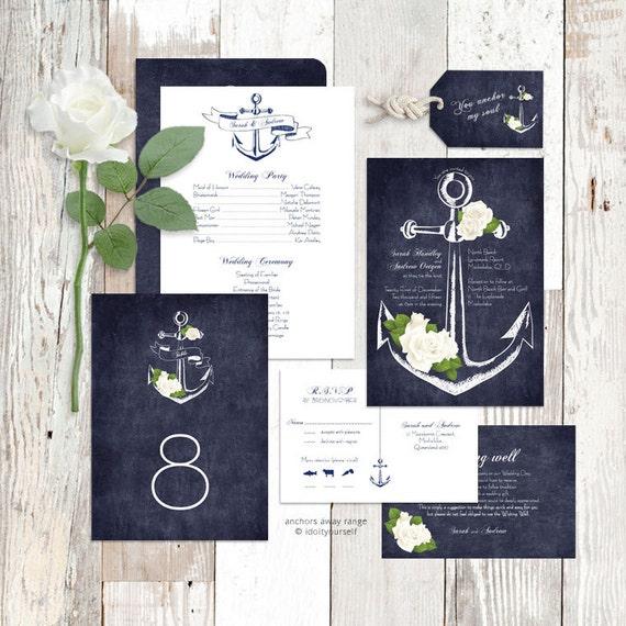 Wedding invitation suite printable nautical rose floral sea solutioingenieria Images