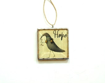 Crow ornament, country primitive ornament, Hope, black crow decoration, glass ornament, crow photo, whimsical art
