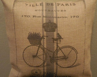 French Bike Burlap Pillow, Rustic French Farmhouse, Shabby Chic, Sports32, INSERT INCLUDED