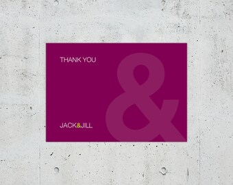 Simple Minimal Modern Helvetica Typographic Wedding Thank You Card | Printable DIY | Color Customizable