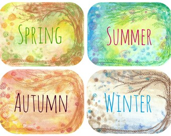 Seasons cards set - nature table, Montessori Steiner Waldorf